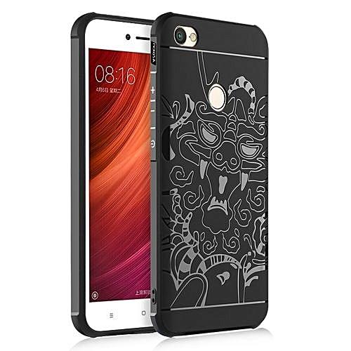 release date: 822b7 026df Xiaomi Redmi Note 5A Prime Silicon Case 3d Carved Matte TPU Anti-knock  Phone Back Cover - Black