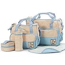 5 pieceDiaper Bag, Multi Pockets Waterproof Nappy Bag For Travel - sky blue