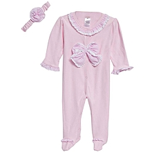 Newborn Babies Romper with Hairband - Pink