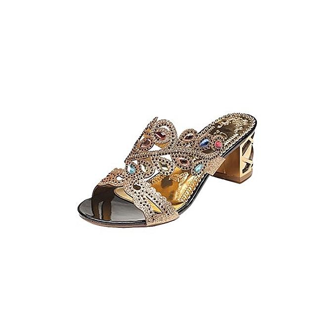f6c7fb0246e296 Blicool Shop Women Sandals Summer Fashion Women Girl Big Rhinestone Heel Sandals  Ladies Sparkling Slipper-