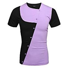 COOFANDY Men Fashion Casual Asymmetrical Collar Short Sleeve Patchwork Contrast Color T Shirt Tops ( Purple )