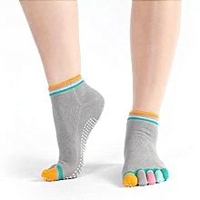 Cotton Yoga Gym Non Slip Massage Toe Socks Full Grip With Socks Heel GY