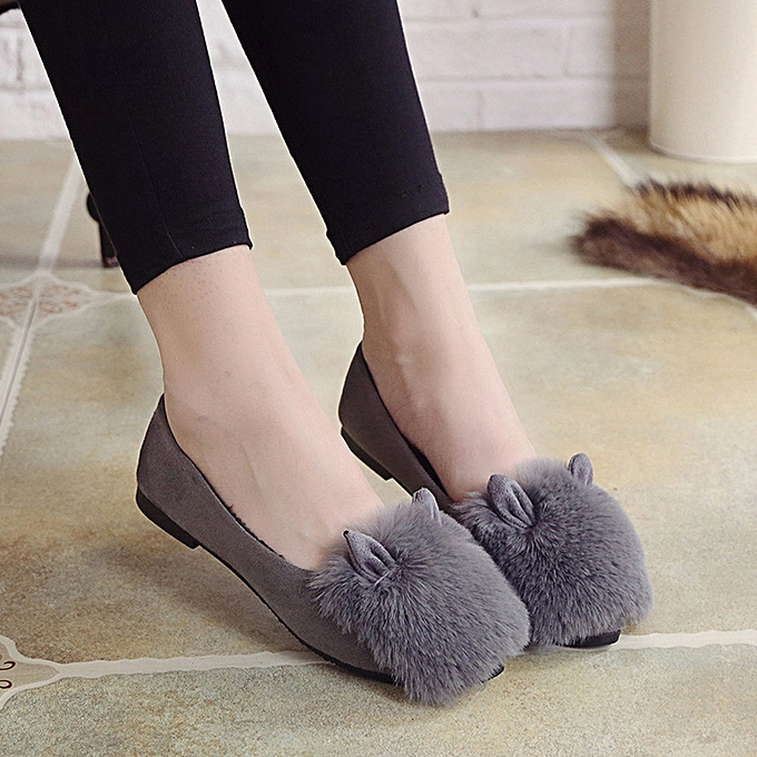 c75acba493c35 Cute Warm Women Flats Shoes Snow Women Autumn Winter Shoes Fashion  GY/36-Gray -CN SIZE