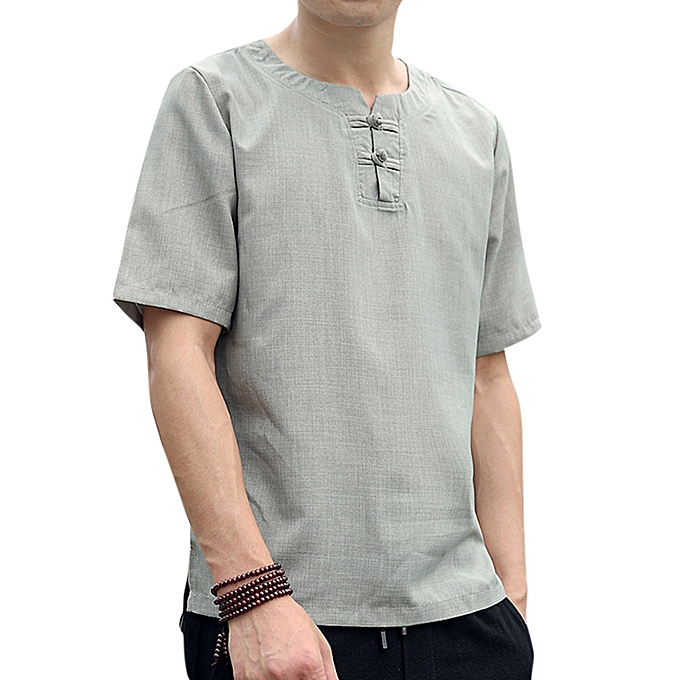 fd177cf4783 Men s Chinese Style Cotton Linen T-Shirts Summer Short-sleeved Breathable  Loose Thin Tops