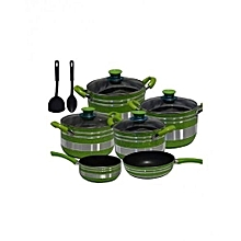 Non Stick Cooking Pot - 8 Pieces - Green & Silver