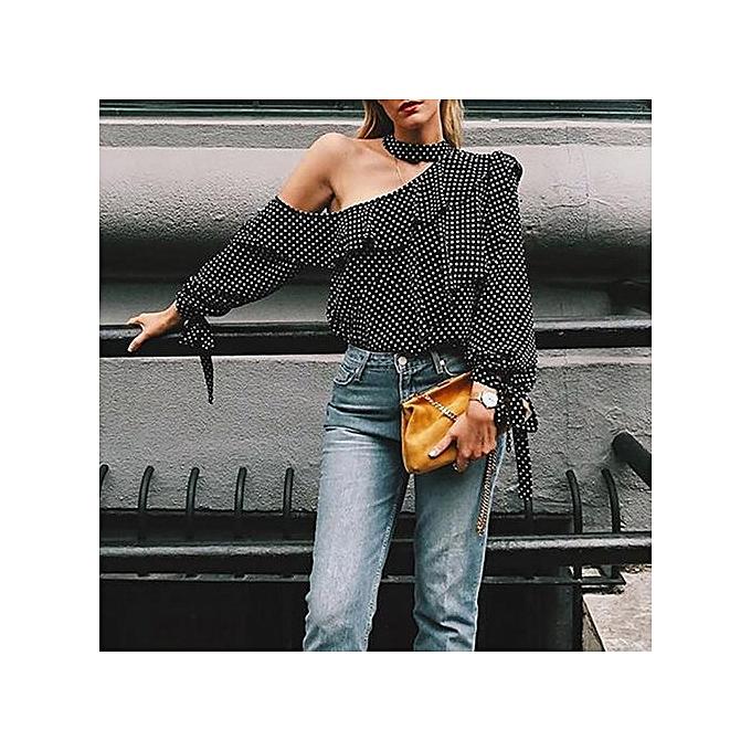 bfb539fed51 Hiaojbk Store Women One Shoulder Polka Dot Blouse Tops Lantern Sleeve  Chiffon Bow Shirt-Black