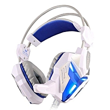 Headphone Gaming, G3100 gaming headset Wired stereo LED microphone for computer(White Blue)