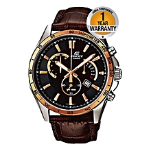 EFR-510L-5AVEF Brown Leather Straps Watch With Black Dial