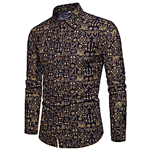 a5a4bd88 Long Sleeved Floral Men's Slim Fit Shirt CS43 - Black&Gold