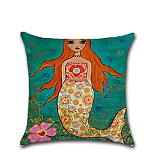 Colorful Cartoon Mermaid Series Soft Pillow Cover Cotton Linen Bed Pillowcase Multi-color mixed