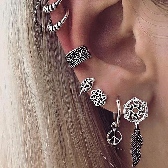 7pcs Set Dream Catcher Leaf Ear Cuff Stud Earrings Women Vintage Jewelry Gift Antique