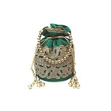 Raw Silk Batwa with Cutwork Lace - Green