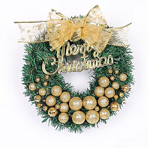 Generic 30CM Christmas wreaths Christmas stores decorated with red gold wreaths # Gold