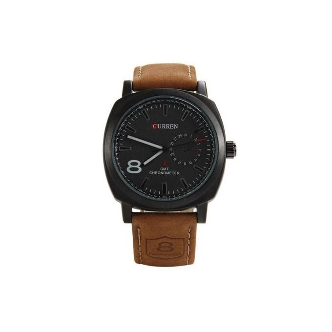 Arabic Number Leather Unisex Watch- Brown