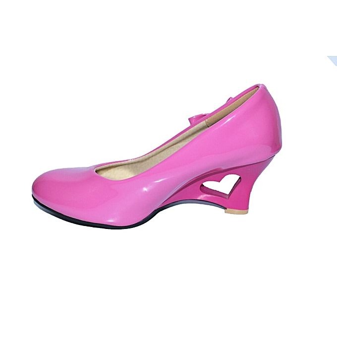 4a9e2dac57c Round Toe Flock Wedges Pumps Fashion Mid Heels with a heart hollow shape  Shallow Formal Career