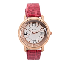 Maroon Red Shiny PU Leather Strap Watch..