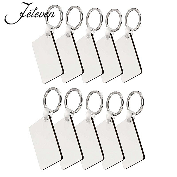 10Pcs Rectangle Blank Board Sublimation Printing Keyrings For Heat Press  Machine