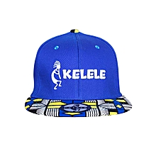 Royal Blue And Blue Snapback Hat With Kelele Colors On Brim