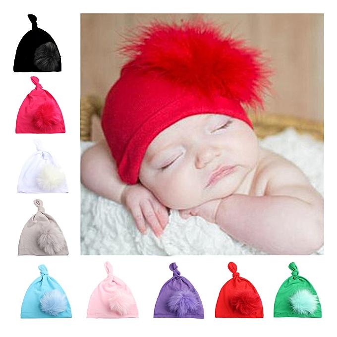 05d06dd98be ... Comfortable Newborn Baby knot Hats with Hair Ball kids hats Cap baby  Bonnet