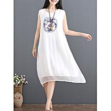 Vintage Women Loose Pure Color Sleeveless Dress