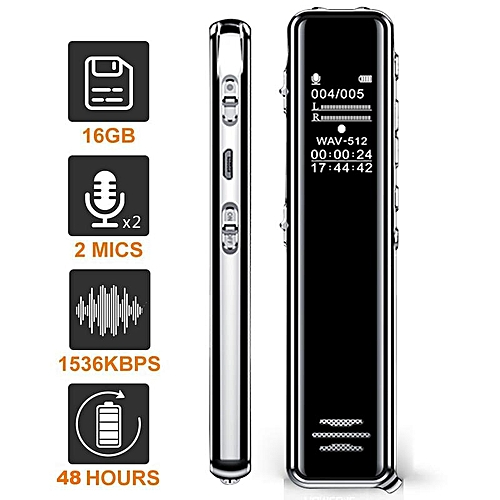 8GB/16GB Voice Recorder USB Professional 68 Hours Dictaphone Digital Audio  Voice Recorder With WAV MP3 Player Lossless Player SANNI