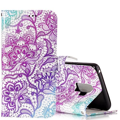 Generic For Galaxy S9 Gloss Oil Embossed Purple Lotus Flower