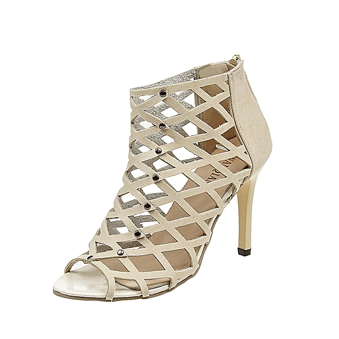 d19354ada0ac MUYI Women s Fashion Peep Toe High Heels Shoes Rivet Roman Gladiator ...