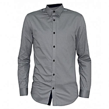 Light Grey Long Sleeved Button-Down Men's Shirts