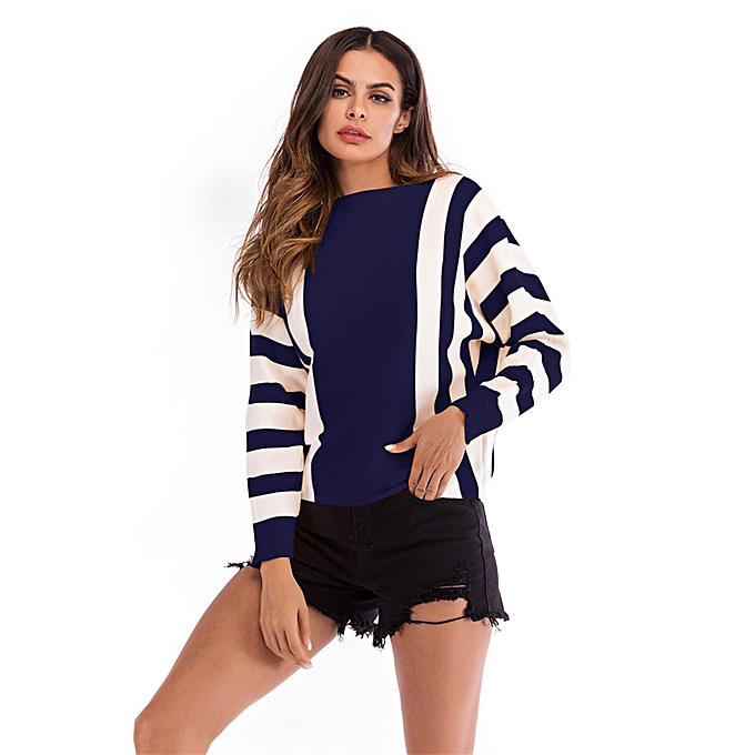 afb0597aaf9ba Womens Off Shoulder Batwing Sleeve Stripe Loose Oversized Pullover Sweater  Knit Jumpe - Blue