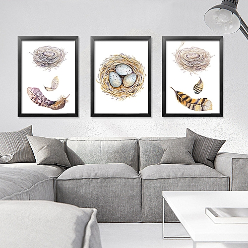 Generic QUKAU 3pcs 4060CM Wall Painting Picture Mural Abstract Feather Decorative Modern Simple Living Room Dining Entrance Sofa