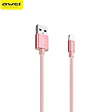 CL - 988 8 Pin 5V 2A Mini Nylon Braided Charge Data Transfer Cable 0.3m - Rose Gold
