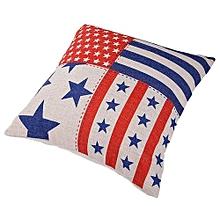 Unisex Stars And Stripes Square Linen Pillow - White