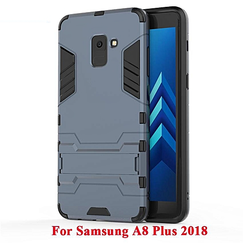 new styles 2b38a 06202 2 In 1 Hard Back Cover Armor Shell Case With Built-in Stand For Samsung  Galaxy A8 Plus 2018 227909 (Black)
