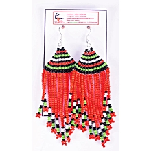 African Themed Red Earrings
