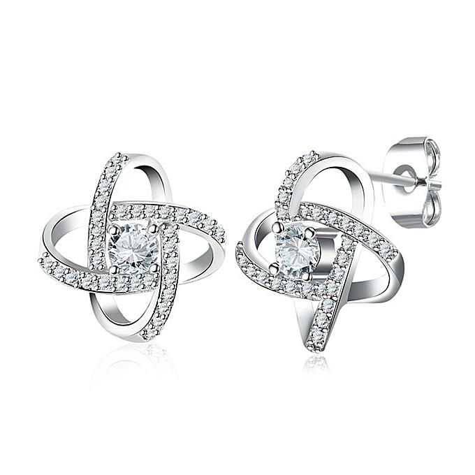 e7d9e14b4 Generic Buttoned platinum earrings for women's Earrings-Platinum ...