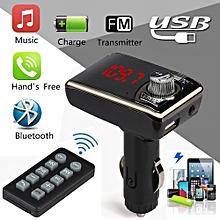 Hiamok_Bluetooth Car Kit MP3 Player Wireless FM Transmitter Handsfree USB TF SD Remote