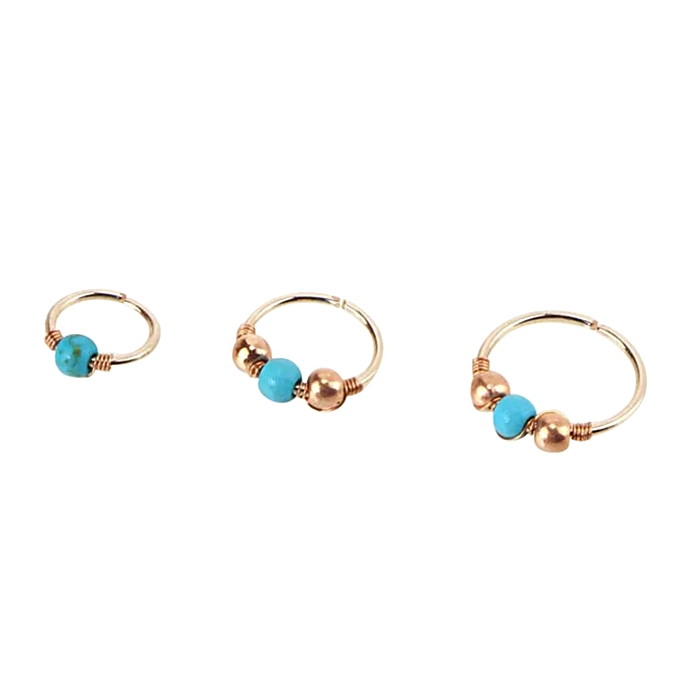 Buy Eissely 1xstainless Steel Nose Ring Turquoise Nostril Hoop Nose