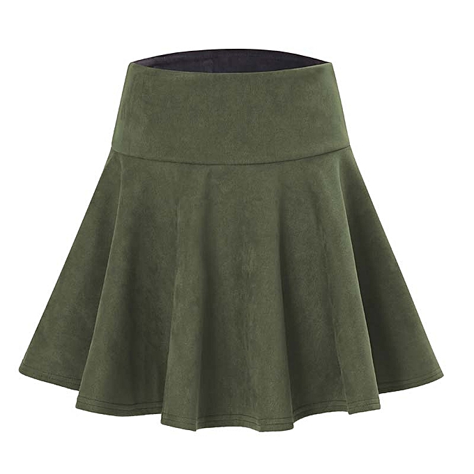 661e5a108 Spring Autumn Women's Faux Suede Flared Skirt Elastic Waist Stretchy Pleated  Flared Skater Skirt Casual Mini