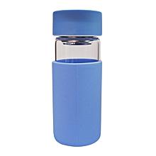 Glass Water Bottle - 370ml - Blue