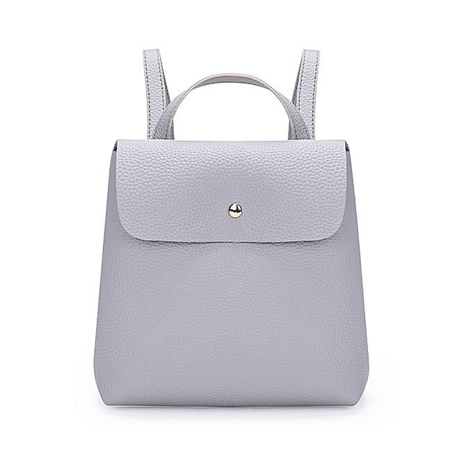 Hiamok Fshion Women Girl Pure Color Leather Mini School Bag Backpack Shoulder  Bag 52357504f2d76