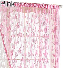 1Pc Butterfly Fringe String Curtain Panel Tassel Design Window Room Divider (Pink)
