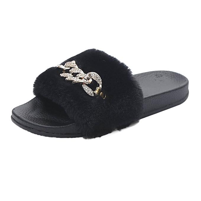 5f9da2f1289637 Womens Ladies Slip On Sliders Fluffy Faux Fur Flat Slipper Flip Flop Sandal