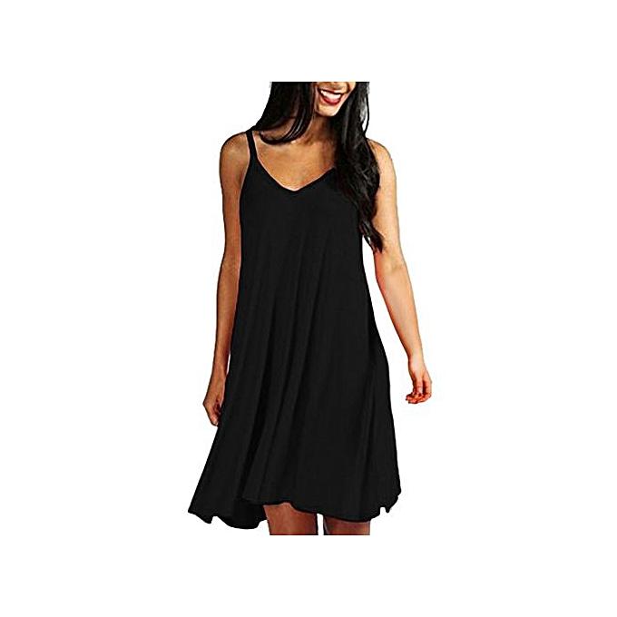 f45dd2490e7 Hiaojbk Store Women s Solid Casual Plain Simple Loose Summer Sling Dresses  Sundress-Black