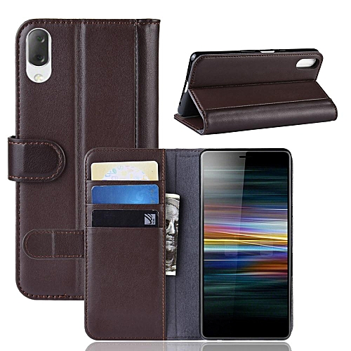 quality design 13f77 1cc10 Real Leather Wallet Case Cover for Sony Xperia L3