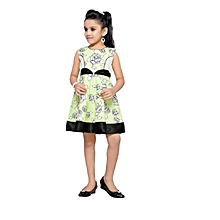 Green Sleevess Cotton Dress with Black satin border
