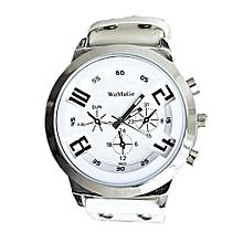 Blicool Wrist Watch Fashion Unisex Leather Band Analog Quartz Vogue Wrist Watch Watches WH-white