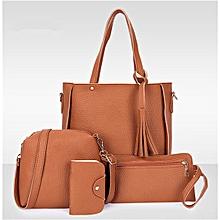 4Pcs/Set Women Faux Leather Handbag Shoulder Bag Tote Purse Messenger Clutch - Brown.,
