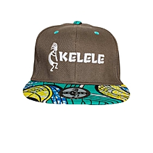 Brown And Cyan Snapback Hat With Kelele Colors On Brim