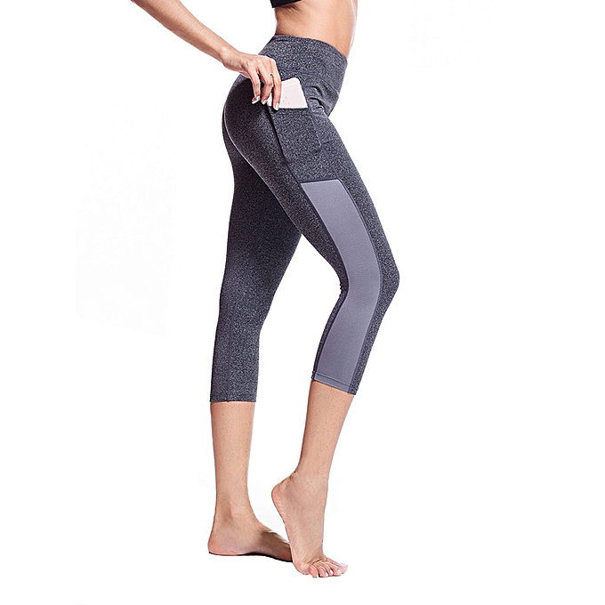 61b2bb8d793fab Women's Side Pocket Stitching Tight Running Stretch Seven-point Yoga Pants