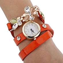 Women's Flower Sling Chain Watch Wrap Circle Button Wristwatch Orange